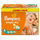 Pampers Windeln Simply Dry Gr.4 Maxi 7-18kg Jumbo Box, 2er Pack (2 x 74 Stück)