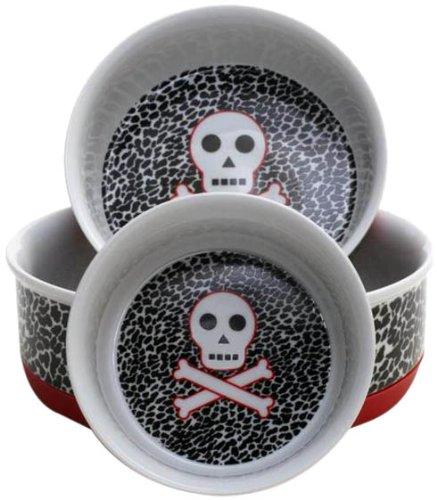 Housewares International Ceramic 3-Bowl Nesting Pet Bowl Set, Skull And Cross Bones, 38-Ounce/18-Ounce/10-Ounce Bowls Per Set
