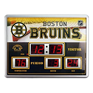 Buy Team Sports America Boston Bruins Scoreboard Style Clock & Thermometer by Team Sports America