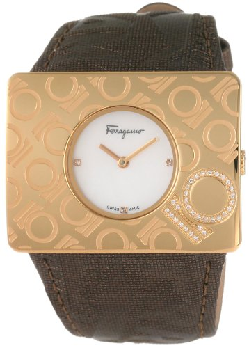 Ferragamo Women's F65LBQ5191 S497 Venna Gold IP Brown Leather Watch