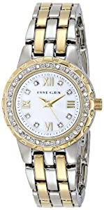 Anne Klein Women's AK/1509MPTT Swarovski Crystal Accented Two-Tone Bracelet Watch