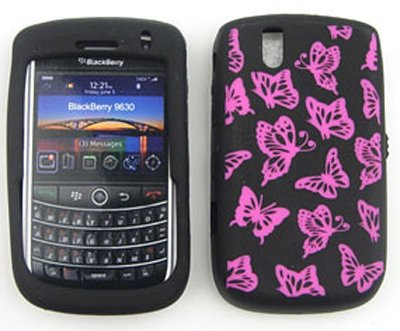 Blackberry Tour 9630 Deluxe Design Skin, Pink Butterflies on Black Snap On Cover, Soft Gel, Silicone Case, Face cover, Protector by Gulf Coast Cell