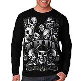 Wellcoda Thug Skeleton Biker Rider Skull Gangster Mens Long Sleeve T-Shirt NEW Tee 100% Cotton Top S-2XL Size