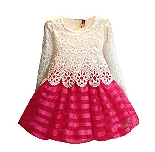 weonedream Baby ragazza partito abito con maniche lunghe a righe fiore all' uncinetto Patchwork rosa white hot pink 5T