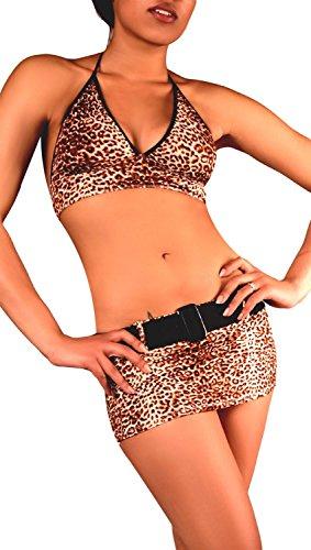 jowiha® Sexy Gogo Set Top und Minirock im Leopard Look