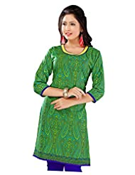 Lavis Green & Yellow Pure Printed Cotton Kurti