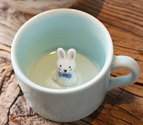 3D Cute Coffee Cup, NEWBEE® Newest Creative Lifelike 3D Cute Cartoon Miniature Animal Figurine Ceramics Coffee Cup - Rabbit