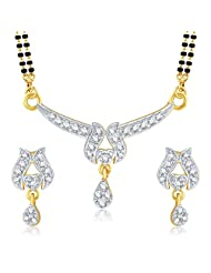 VK Jewels Gold And Rhodium Plated Mangalsutra Pendant With Earrings-MP1039G [VKMP1039G]