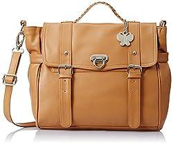 Butterflies Women's Handbag (Beige) (BNS 0313)