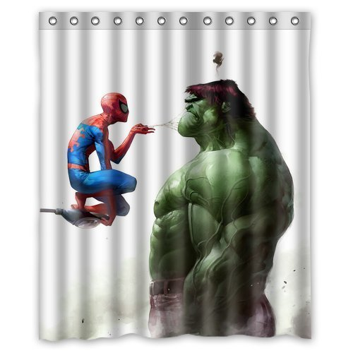 BOSKGML-Custom-Marvel-Comics-Superhero-Hulk-and-Spiderman-WaterProof-Polyester-Fabric-Shower-Curtain-in-Size-60