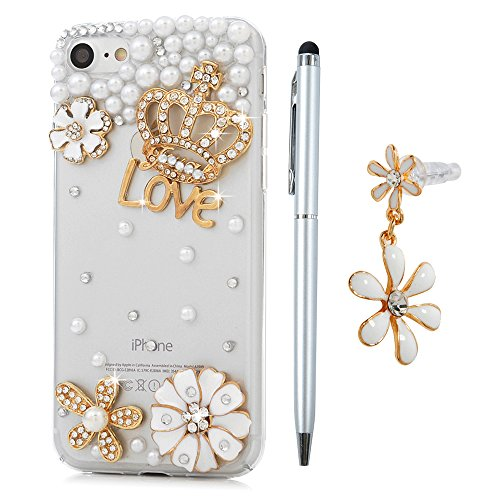iPhone 7 Custodia Traparente Glitter Bling Strass Case Rigida Plastica Hard - MAXFE.CO 3D Fatto a mano Cover Plastica PC Duro Protettiva,Cristallo Diamante - Corona imperiale,fiori,perle