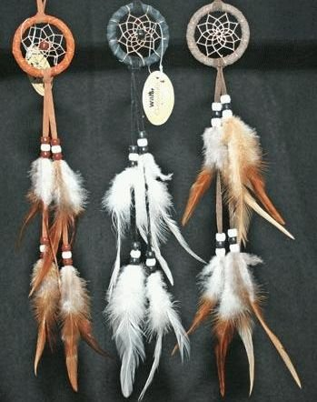 Miniature Dreamcatcher Earthtones, Beads & Feathers, 8-inch