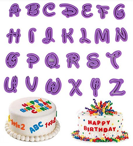 Kootips Set of 26pcs DIY Letter Number Cake Mould Fondant Sugarcraft Cookie Plunger Cutter Mold Decorating Tools (Fondant Cookie Cutters compare prices)