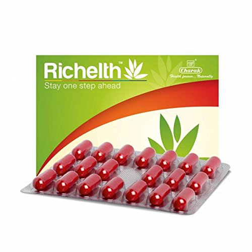 RICHELTH is a multifaceted natural antioxidant formulation which ensures that you stay one step ahead.  Let's take a brief look at its ingredients. Amalaki is the most potent anti ageing herb. Mandukparni is distinguished for its effect on the central nervous system, especially for its cognition enhancing properties. Shunthi besides having antioxidant properties, also helps in potentiating the medicinal properties of other ingredients by its bioavailability enhancing properties.