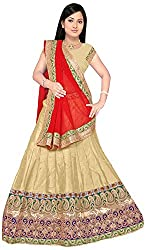 Jay Ambe Creation Women's Viscose Dress Material(dno111d_Red & Cream_Free Size)