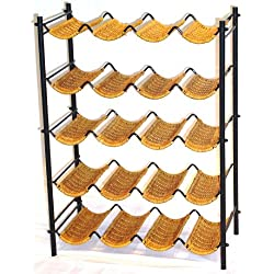 4D Concepts Wicker Wine Rack, Wicker/ Metal