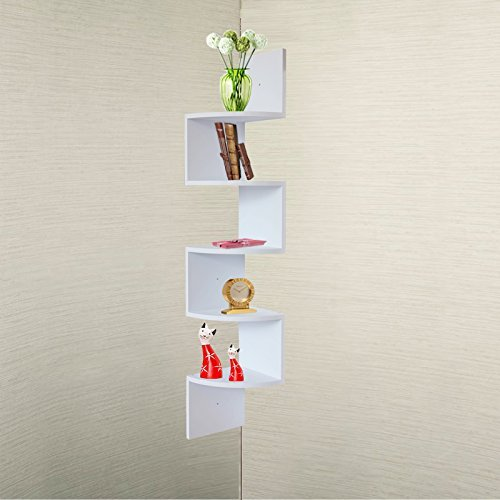 convenience concepts oxford 5 tier corner bookcase white corner shelves olivia decor. Black Bedroom Furniture Sets. Home Design Ideas