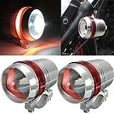 #9: AutoSun Motorcycle Bike Car U3 LED Fog Spot Light Driving HeadLights Red Angle Eye Set of 2