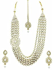 Bridal Jewellery Set Five Lines Contemporary Side Pendant Reverse AD Necklace Set