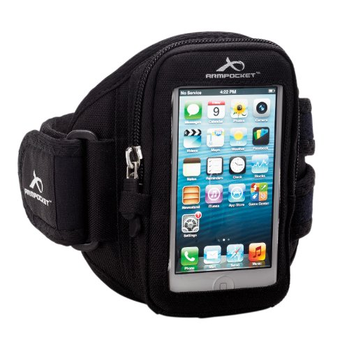Special Sale Armpocket® i-10 armband for iPhone 5s/5c/4 and similar phones or cases up to 5 inches. Black, Small Strap Length