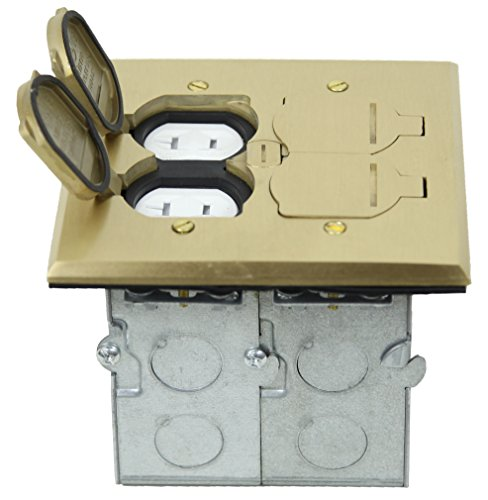 TOPGREENER 705549-C 2 Gang Rectangular Floor Box, With Flip Lid Assembly and 20A Tamper / Weather Resistant Dual Duplex Receptacle - UL Listed, Brass