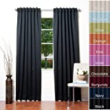 """Solid Thermal Insulated Blackout Curtain 84""""L X 52""""W - 1 Set-BLACK"""