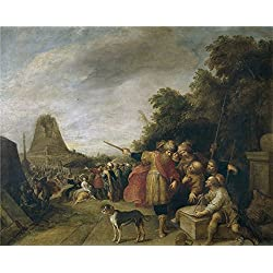 Polyster Canvas ,the High Resolution Art Decorative Prints On Canvas Of Oil Painting 'Francken Frans II La Construccion De La Torre De Babel ', 30 X 37 Inch / 76 X 95 Cm Is Best For Gym Artwork And Home Gallery Art And Gifts