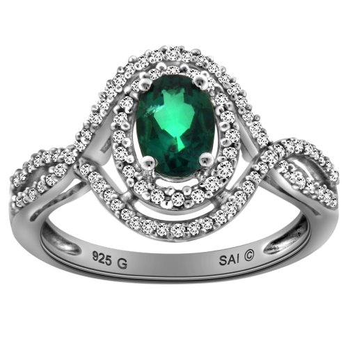 Sterling Silver Created Emerald and Diamond Oval Ring (0.34cttw, I-J Color, I3 Clarity), Size 7