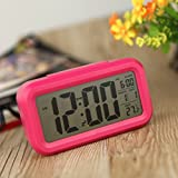 Anself LED Digital Alarm Clock Repeating Snooze Light-activated Sensor Backlight Time Date Temperature Display (Red)