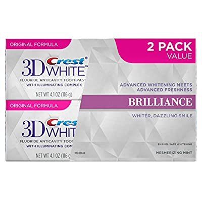 Crest 3D White Brilliance Mesmerizing Mint Teeth Whitening Toothpaste, 2 Pack value, 4.1 Oz Net weight