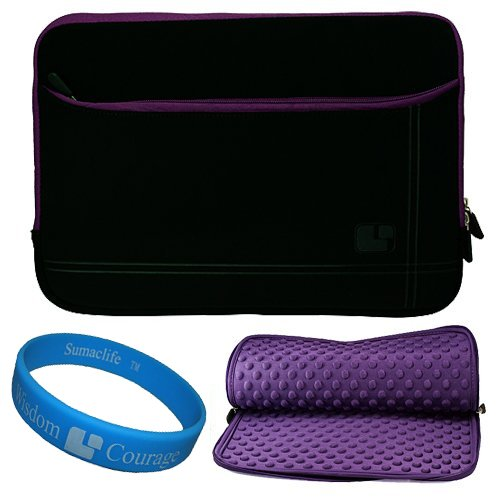 Black with Purple Trim Micro Suede Nubuck Sleeve Case with Accessory Pocket for 13 inch Apple MacBook Pro MC700LL/A MC724LL/A MC516LL/A Laptop Computers + SumacLife TM Wisdom Courage Wristband