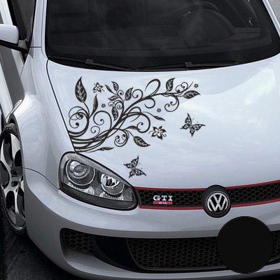 A456 Blumenranke Autoaufkleber + 3 Schmetterlinge 77cm x 50cm schwarz ...