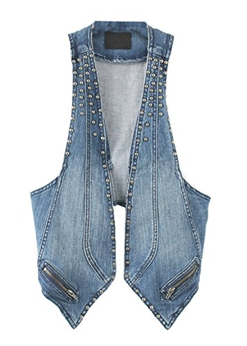 Mooncolour Womens Fashion Loose Punk Style Rivet Denim Vest Wasitcoat