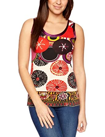 Desigual TS Nolia Printed Women's T-Shirt Carmin Size 8