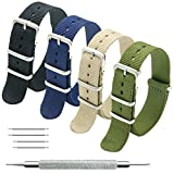 Nato Strap 4 Packs - 20mm 22mm Premium Ballistic Nylon Watch Bands Zulu Style with Stainless Steel Buckle
