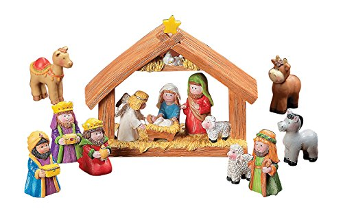 Fun-Express-Mini-Christmas-Nativity-Set-Stable-with-Jesus-Mary-Joseph-Wisemen-9-Pieces