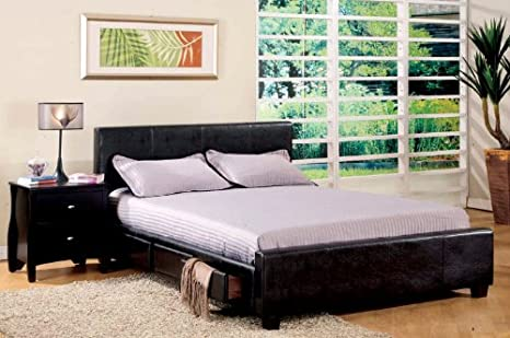 Inland Empire Furniture Queen Size Burlington Espresso Bonded Leather Platform Bed w/ Drawers with Bed Set