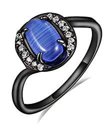 buy Crystal With Blue Opal Inlay Promise Rings, Black Gold Plated Vintage Wedding Bands,Size 6 7 8