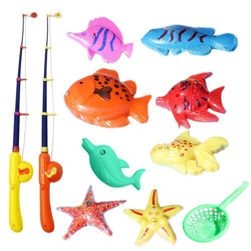 Eonkoo Puzzle Magnetic Fishing Game Ocean 1 Rod 6 Fish Kid Children Bath Hook Toy Funny (Old Cigarette Holders)