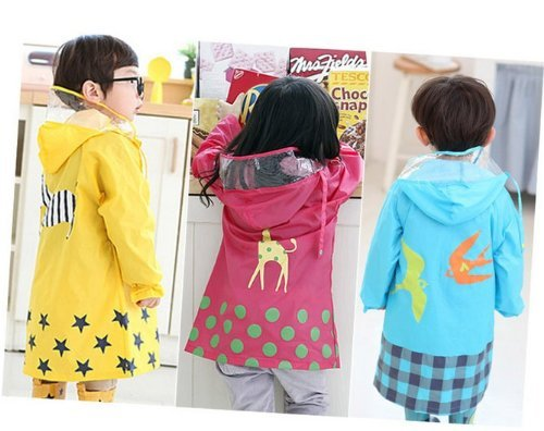 SKL Unisex Kid's Fashion Waterproof Cartoon Raincoat for boy or girl