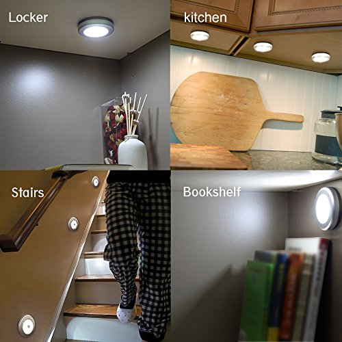 OTTFF Brightest 6w LED Under Cabinet Lighting, Puck Lights, Battery-operated  Wireless PIR Motion Sensor LED Night Light / Stairs