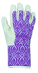 Briers Womens Gardening Gloves With Purple Baroque Print & Soft Palm Medium