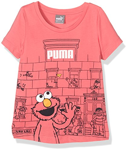 PUMA T-shirt per bambini Sesame Street Tee, Coral Sunkist, 104, 838813 25