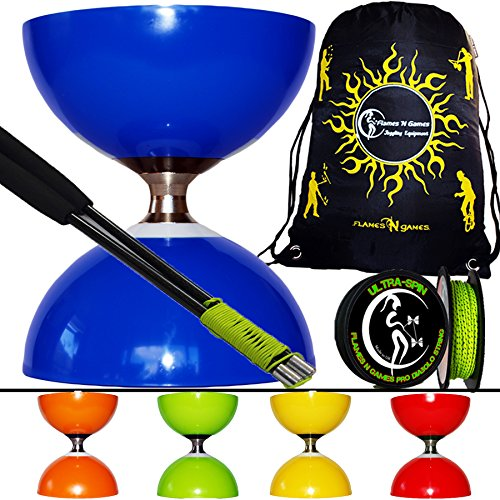 Cyclone Glaze Triple Bearing Pro Diabolo Set (5 Colour Options) + Carbon Diablo Handsticks + 10M Ultra-Spin Diabolo String + Diabolo Book Of Tricks + Diabolo Bag! (Orange)