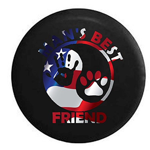 Flag - Man's Best Friend Ying Yang Hand Print Jeep Wave Paw Print Spare Tire Cover OEM Vinyl Black 33 in (Jeep Paw Print Tire Cover compare prices)