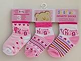Soft Touch Pack de tres pares de calcetines de bebe niña rosa Multi 0-3, 3-6, 6-12meses rosa rosa Talla:6 - 12 meses