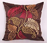Uniifurn Garden Fern Imitated Silk Throw Pillow Cover, Cushion Case 18x18inches, Brown