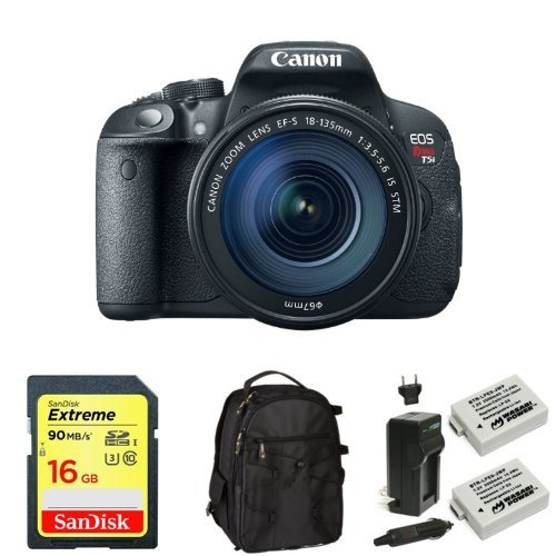 Canon EOS Rebel T5i Digital SLR with 18-135mm STM Lens + Memory Card, Bag and Battery
