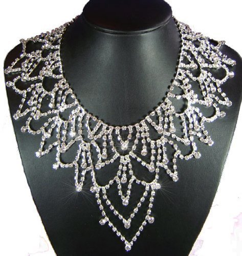Wedding Crystal Bridal Earrings Necklace Jewellery Set with PreciousBags Dust Bag
