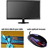AOC 15.6 Inch LED Backlit LCD - E1670Swu/WMMonitor (Black) With Free (Usb Micro Data & Sync Cable + Usb Optical...